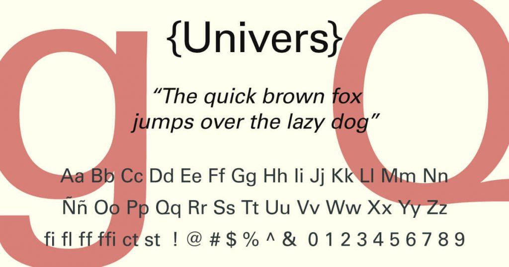 Univers · Tipografía